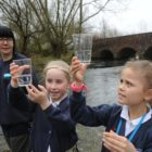 Small children in Axford in the vicinity of Marlborough in Wiltshire launch little one trout into the River Kennet to study about the fragility of the ecosystem