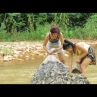 Awesome Fishing at Battambang   Wonderful Female Fishing   How To Capture Fish By Hand Element 36