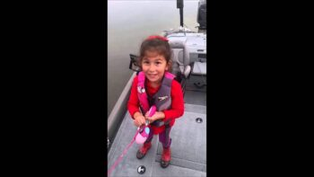 Little Girl Catches Huge Bass Using Her Pink Barbie Toy Rod
