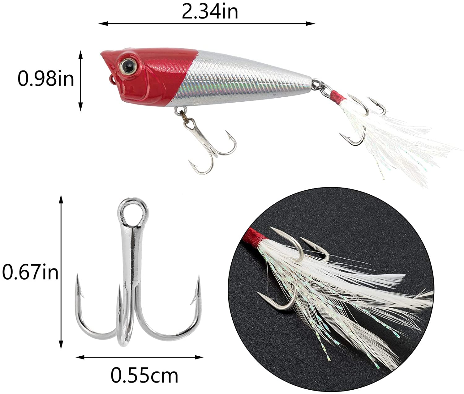 Topwater popper bait for bass in the summer