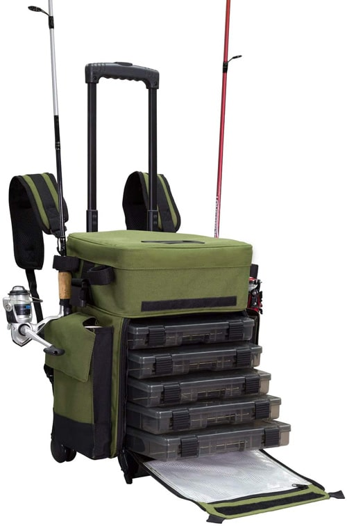 Elkton Outdoors Rolling Fishing Tackle Box X Large Best Fishing Backpacks