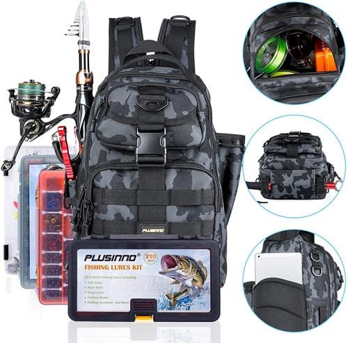 PLUSINNO Fishing Tackle Backpack Storage Bag Best Fishing Backpacks