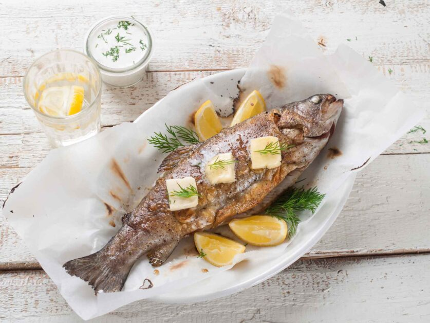 Full sized freshwater bass recipe image of cooked bass