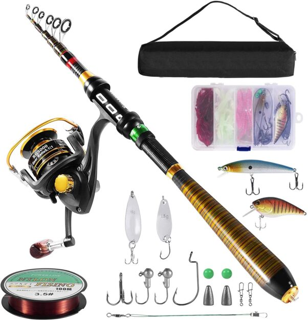 Milerong Carbon Fiber Telescopic Fishing Pole with Stainless Steel Spinning Fishing Reel