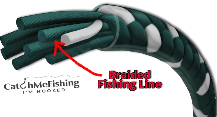 Braided fishing line close up