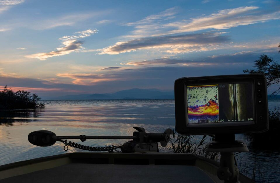 Fish finder sonar on a boat while fishing